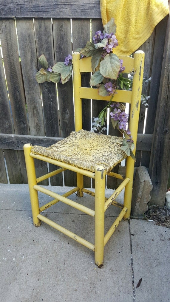 Vintage Antique Yellow Patio Furniture Outdoor Chair Garden