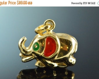 1 Day Sale 14K Colored Enamel Puff Elephant Charm/Pendant Yellow Gold
