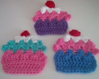 3 x Large Crochet Cupcakes - Hand Made - Craft Work - Applique
