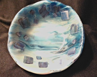 Glass Art Bowl - The Blues - Fused Glass Decorative Bowl- by Feralartist