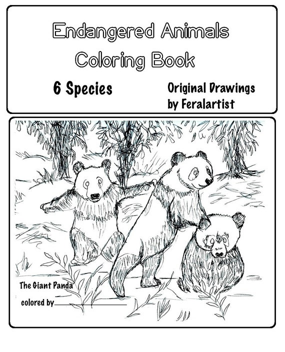 Items similar to coloring book endangered animals for Endangered species coloring pages