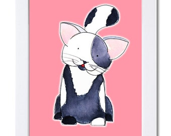 Black and White Kitten-Pink Background-Watercolor-Illustration-Cats-Animals-Children-Kids Art