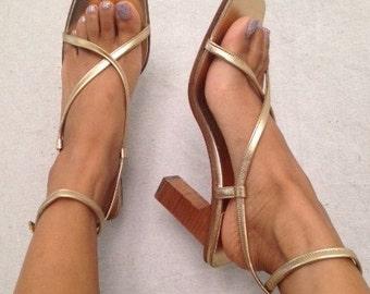 Celine Gold Cross Cross Heels