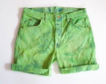 DENIM WRANGLER marbled GREEN hand dyed cutoff shorts vintage 32