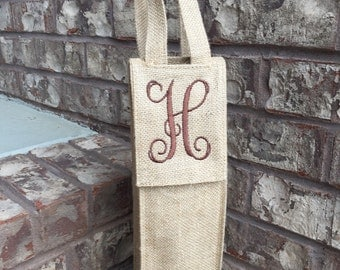 Monogrammed BURLAP Wine Tote | Insulated Wine Bottle Bag | Monogrammed Wine Bag