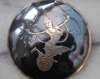 Siam Silver Nielloware Brooch/Pin - 1970's