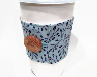 Coffee Cuff - Blue/Navy Tiny Leaves