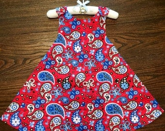 Cowgirl Paisley and Red and White Polka Dot Handmade Reversible Sundress for Infants and Toddlers