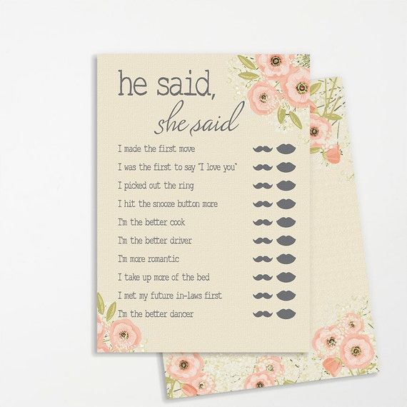 he said she said shower game printable instant download rustic