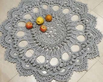 Crochet Doily Rug Splendid Grey Colour