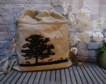 backpack, bookbag, drawstring bag, Deer