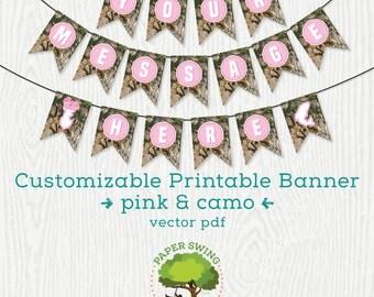 Customized Printable Pink Camo Banner