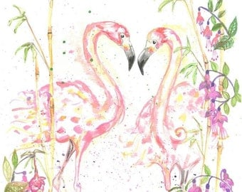 Two Watercolour Flamingoes