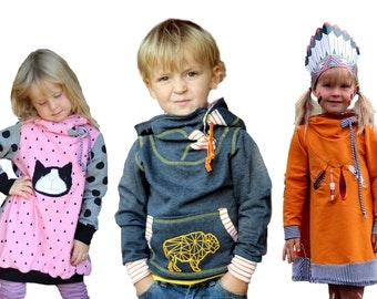 eBook kids hoodie jumper and dress sewing pattern and manual - AnniNanni Snugly Kid
