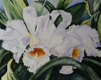White Orchids Original Watercolor Painting (framed)