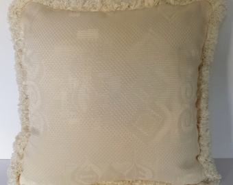 large solid ivory jacquard decorative throw pillow with fringe for sofa chair couch handmade in U.S.A.
