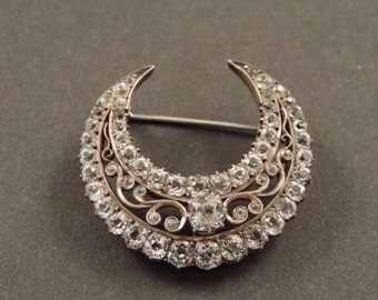 800 silver Crescent brooch, gold 9 ct.  rhinestone and Crystal (1850-70)