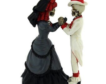 Wedding Gift Devoted To You  Bride Groom Skeleton 14cm | Wedding Cake Topper | Nemesis Now