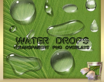 15 large transparent water drops for the image editing Photoshop effects - set 21 - Photoshop PNG overlays WATER DROPS