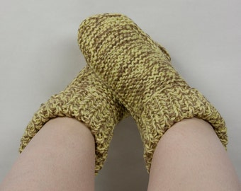 Hand Knitted Socks - Warm, Cosy, Made with Love, Perfect for cold winter days and nights. In Latte & Soft Yellow Wool Blend.