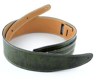 "Forest Green Leather Guitar Strap Handmade 2 1/2"" Wide, For Electric & Acoustic Guitar    U1-125-1C"