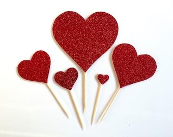 5 Red Glitter Heart Cake Topper, Cupcake Birthday Cake, Valentine, Wedding decoration