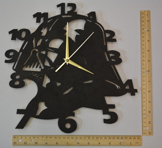 Star Wars Wall Clock Black Darth Vader By Ontheothersidestudio