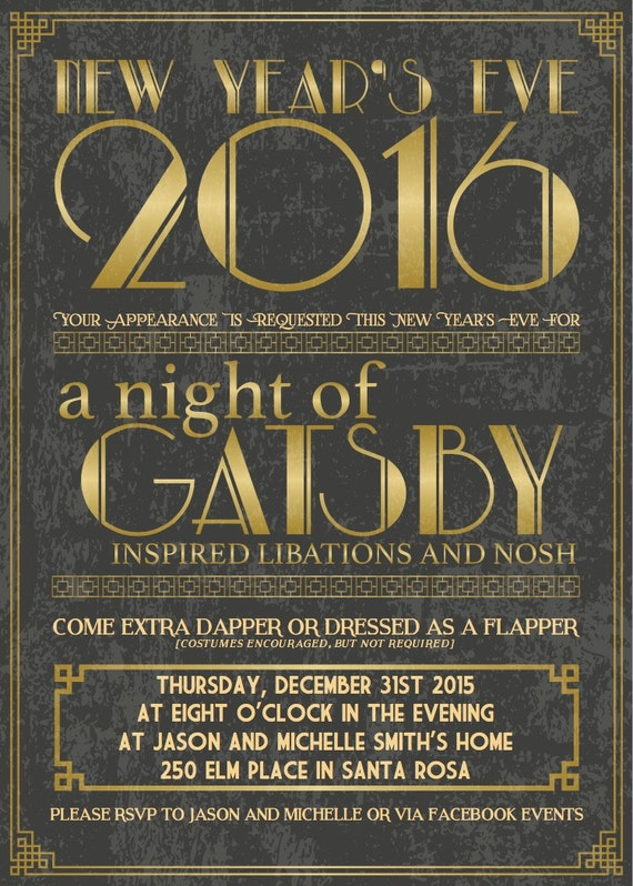 invitation new years eve great gatsby party - Gatsby Party Invitation