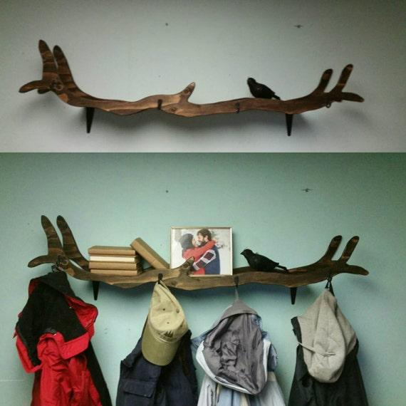 handmade tree branch coat rack bookshelf. Black Bedroom Furniture Sets. Home Design Ideas