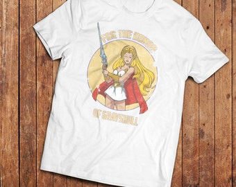 She Ra T-Shirt, inspired but the masters of the universe 1980's TV SHow, eighties cartoon classic.
