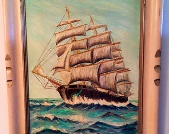 Vintage Sailing Ship Painting in hand carved frame.