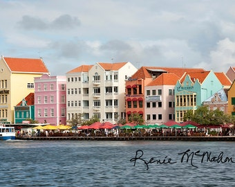 Caribbean wall art, metal print on sale, 1-10x20, ready to hang, bright and colorful, pastel colors, modern wall art,ready to ship, Curaçao