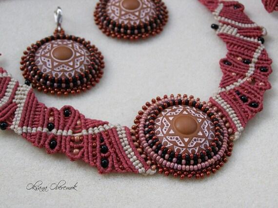 Mandala jewelry set Macrame necklace macrame bracelet and beadwork earrings