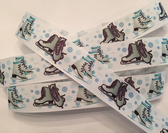 Ice Skate and Winter Snowflake Grosgrain Ribbon 7/8""