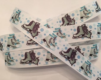 "Ice Skate and Winter Snowflake Grosgrain Ribbon 7/8"""