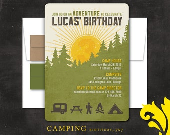 CAMPING . birthday invitation
