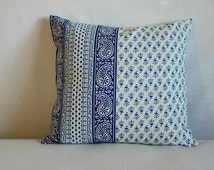 Elegant decorative Blue, white cushion cover,16X16 reversible 100% cotton hand printed paisely print throw pillow,Zipper closer pillow cover