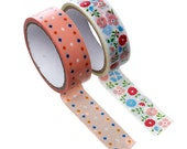 Two Roll Set of Floral Crafting Tape - Washi Tape, Planner Accessories, Kawaii Tape, Japanese Tape, Floral Washi, Ships from USA - T11