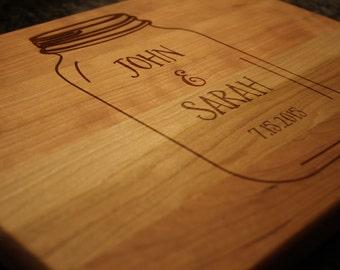 Personalized Mason Jar Cutting Board