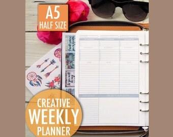Weekly Planner printable, planner inserts, weekly insert, filofax insert, filofax A5 weekly , kikki k weekly insert, goal planner, A5 insert