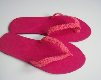 Pink cotton flip flops thong sandals new handmade shoes various sizes