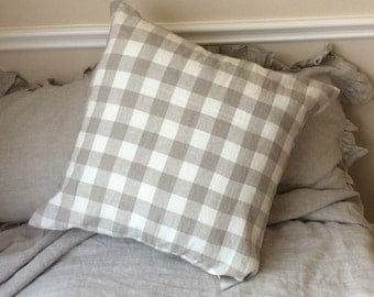 Checked Euro Sham Covers, 100% Linen, accented euro pillow sham covers, all sizes, 12x16, 16x16, 18x18, 20x20, 24x24, 26x26