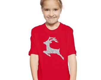 Kids Sparkly Reindeer Christmas T-Shirt / Cool alternative to Christmas Jumper girls / boys