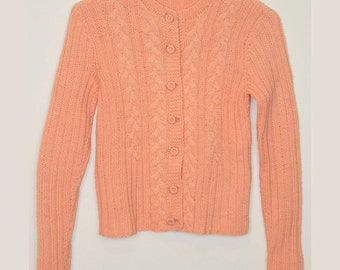 Peach, Cardigan, Sweater, Tangerine, Vintage, 60's, 1960's, Retro, Kitsch, Quirky, Small, Sm