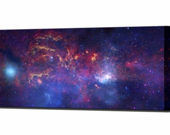Space Art Center of Milky Way Galaxy Canvas Wall Art Print Hubble Picture Wall Decor Ready To Hang