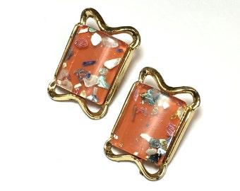 Orange Lucite Confetti Earrings 50s