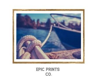 Nautical Rope Print, Minimalist Wall Art Decor, Nautical Knot Decor, Outdoor Printable Art, Instant Download Nature Print, Nautical Decor