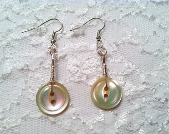 Vintage Button Earrings Silver Hand-wired Vintage Iridescent Mother of Pearl Buttons