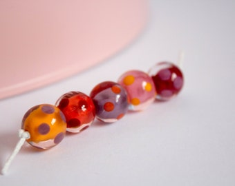 Floating Polka Bead Set - Lampwork Glass Bead Set - Polka Dot Beads - Glossy - Red, Orange - Bright Beads - Round Beads - Made in the UK