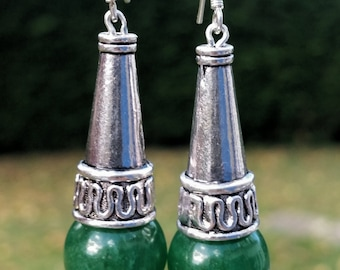 Green cone earrings
